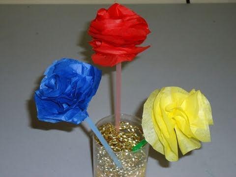 Como hacer flores de colores con papel de china seda