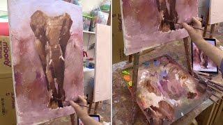 getlinkyoutube.com-Слон. Живопись маслом с использованием фактурной акриловой пасты. Elephant. Oil painting.