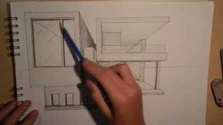 getlinkyoutube.com-ARCHITECTURE | DESIGN #2: DRAWING A MODERN HOUSE (1 POINT PERSPECTIVE)