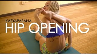 getlinkyoutube.com-Advanced Hip Opening Yoga, Kasyapasana with Kino