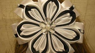 getlinkyoutube.com-Красивый Бант в ШКОЛУ Своими Руками. КАНЗАШИ /DIY /KANZASHI / Make Hair Bow /Tutorial / Flower./