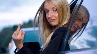 Russian girl behind the wheel !! Funny