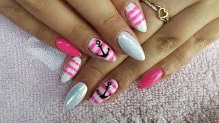 getlinkyoutube.com-Sailor nail art Marynarskie wzory Semilac