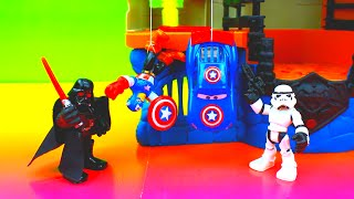 getlinkyoutube.com-Captain America McQueen & Captain America use the Jedi Force against Star Wars Darth Vader