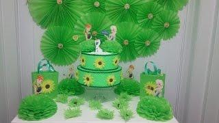 getlinkyoutube.com-Aula 41 - Como fazer decoração para festa Frozen verde