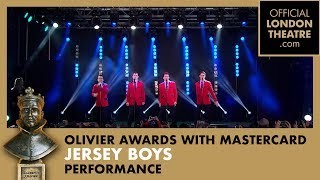 getlinkyoutube.com-Jersey Boys performs on the ITV Stage in Covent Garden at the Olivier Awards 2015 with MasterCard