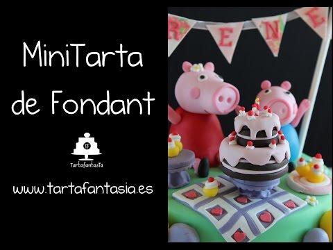 Mini Tarta de Fondant. 1ª Parte Tarta Peppa Pig