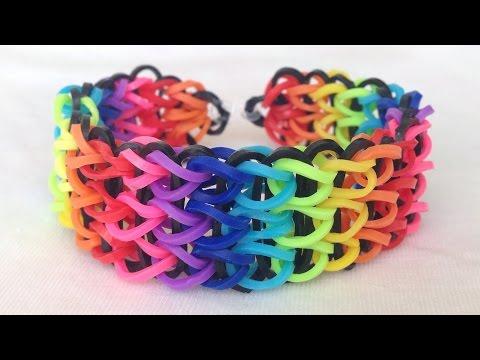 Como fazer pulseiras de elástico: Triple Single #LoomBands (sem tear)