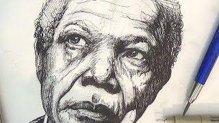 getlinkyoutube.com-Pen and Ink Drawing Tutorials | Nelson Mandela Portrait Drawing Demonstration