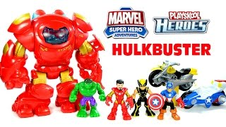 getlinkyoutube.com-Avengers Iron Man Hulkbuster w/ Captain America & Wolverine Marvel Superhero Adventures by Playskool
