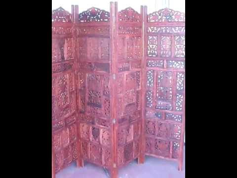 Wood Room Divider Screen Soji 4 Panel Hand Carved - Wholesale Los Angeles Room Dividers