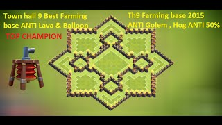 getlinkyoutube.com-COC Town hall 9 Champion th9 farming base 2015 + Defense replay ANTI Gowipe, Giant, Lava + Balloon