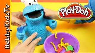 getlinkyoutube.com-PLAY DOH Cookie Monster Lunch Letter Soup Veggies Fruits Cookies Playset by Sesame Street
