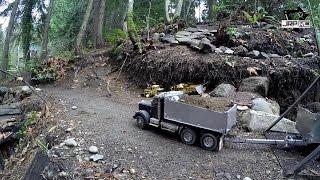 getlinkyoutube.com-JRP RC - King Hauler Dump Truck And Pup Trailer Hauling Up The Hill 2