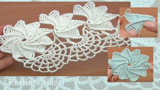 Crochet Spiral Flower Lace Worked in Rows Tutorial 23 Part 1 of 2