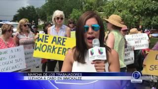 Marcha de los trabajadores en Immokalee. Mayela Rosales trae los detalles