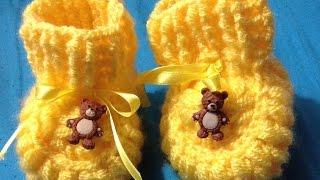 getlinkyoutube.com-Zapatitos para bebé. Tejidas a crochet, muy muy fácil.