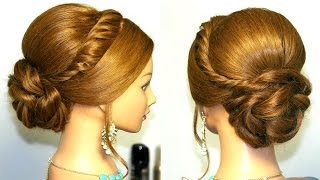 getlinkyoutube.com-Wedding prom updo, hairstyle for long hair.