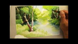 getlinkyoutube.com-Watercolour painting of trees and river - 690 Art Class