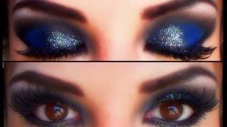 getlinkyoutube.com-Azul profundo para noche / Glitter black and silver on deep blue eyemakeup