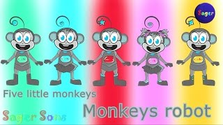 getlinkyoutube.com-Five little monkeys ( Robot monkeys ) 3D Animation English Nursery rhyme  for children