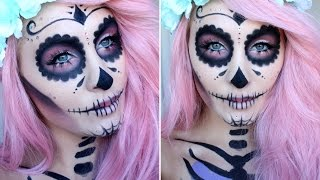 getlinkyoutube.com-HALLOWEEN TUTORIAL | GIRLY SUGAR SKULL