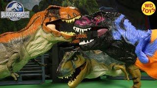 getlinkyoutube.com-New Jurassic Park Chaos Effect Omega Bull T-Rex  Vs 2 Tyrannasurus Rex Dino's Jurassic Park Unboxing