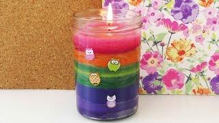 getlinkyoutube.com-Bunte Kerze selber machen | Kerzen gießen | Regenbogenkerze selber machen | Kerze im Glas