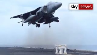 getlinkyoutube.com-US Navy Harrier Jet Lands On Stool