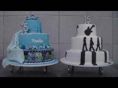 Como montar e cobrir bolo de pasta americana 15 anos e Beatles_bellbolos