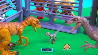Girl Drops Cell Phone Into Dinosaur Cage ! Jurassic World Raptor Play Video