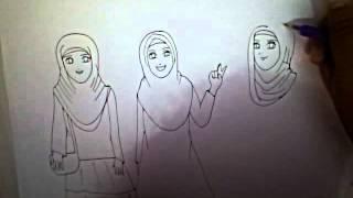 getlinkyoutube.com-HOW TO DRAW HIJAB GIRLS - cara menggambar wanita berhijab