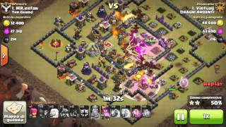 getlinkyoutube.com-Clash of Clan TH10 Queen Walk and dragons attack 3-stars