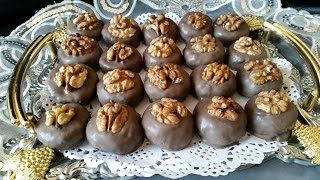 getlinkyoutube.com-حلوى اللوز و الجوز بالشكلاطة  حلويات بدون فرن- Walnut and Almond unbaked cookies