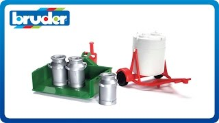 getlinkyoutube.com-Bruder Toys Accessories Milk container, movable load case and 3 milk churns # 02241