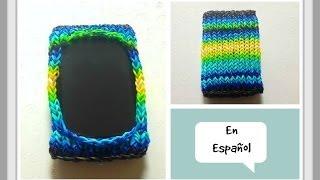 getlinkyoutube.com-Como Hacer una Funda Para Celular con Gomitas - Rainbow Loom o Telar de Tejer Kn - DIY