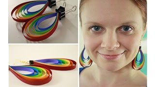 getlinkyoutube.com-Colorful Quilling paper Earring designs making methods   Earrings Making video