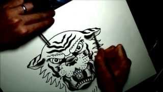 getlinkyoutube.com-Watercolor tattoo flash tiger