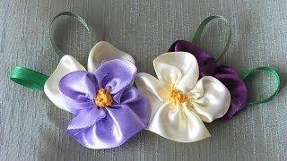 getlinkyoutube.com-цветок Анютины глазки из лент за 5 мин Quick & Easy Satin Ribbon Flower - Tutorial