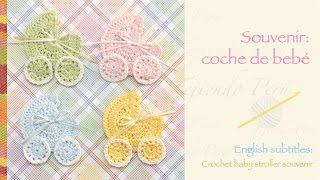 getlinkyoutube.com-Souvenir coche para bebé tejido a crochet / Crochet baby stroller applique