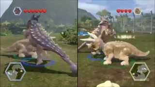 getlinkyoutube.com-LEGO Jurassic World - Ankylosaurus vs Triceratops - CoOp Fight | Free Roam Gameplay [HD]