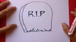 getlinkyoutube.com-Como dibujar una lapida paso a paso | How to draw a tombstone