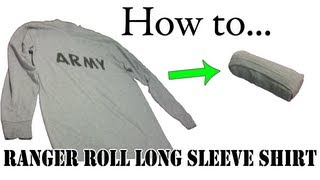 getlinkyoutube.com-Army Packing Hack: How to Ranger Roll Long Sleeve Shirts - Basic Training APFU PT Uniform