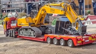 getlinkyoutube.com-RC truck excavator HEAVY transport to the construction site!