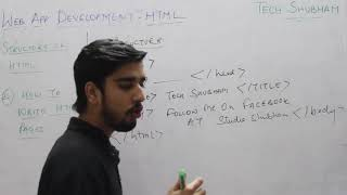 Structure of HTML document for class XII Information Practices by Tech Shubham