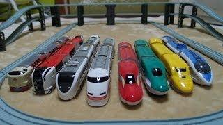 getlinkyoutube.com-ダイソープチ電車シリーズのドクターイエローやスーパーこまちなど8台で走行。プラレールじゃないよ!