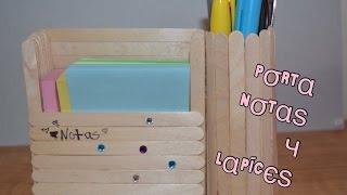 getlinkyoutube.com-Diy: porta notas y organizador de lapices dos en uno