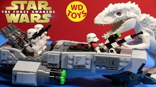 getlinkyoutube.com-Star Wars Lego  First Order Snowspeeder Vs Indominus Rex Jurassic World Force Awakens By WD Toys