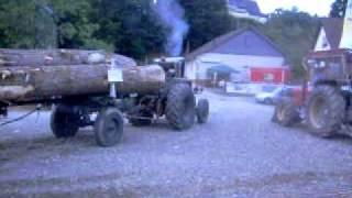 getlinkyoutube.com-Ursus C45/1 zieht 12000kg Langholzanhänger