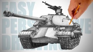 getlinkyoutube.com-How to draw a tank (IS-3) - Easy Perspective Drawing 21